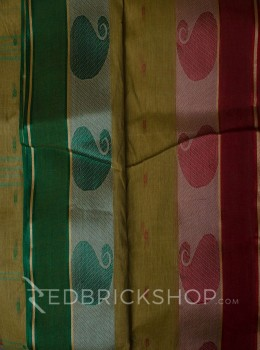 TANGAIL GANGA-JAMUNA BEIGE-RED-GREEN COTTON SAREE