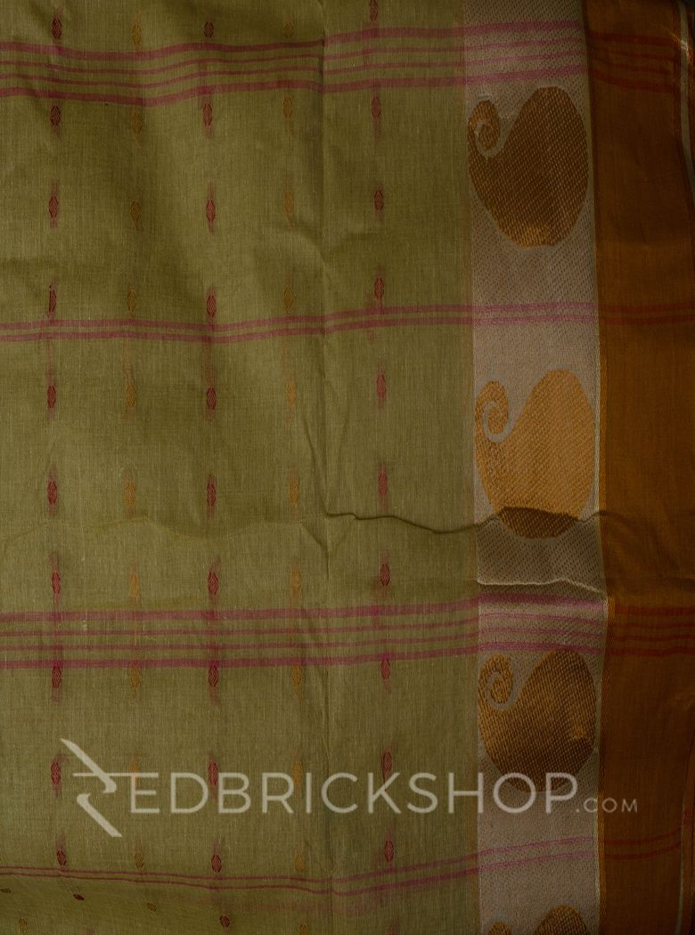 TANGAIL GANGA-JAMUNA BEIGE-RUST-RED COTTON SAREE