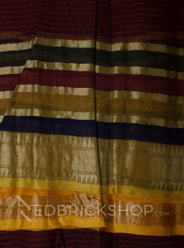 TANGAIL STRIPES RUST COTTON SAREE