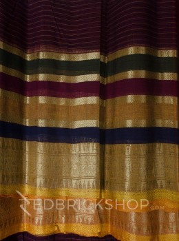 TANGAIL STRIPES MAROON COTTON SAREE