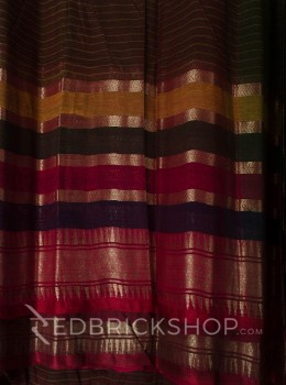 TANGAIL STRIPES OLIVE COTTON SAREE