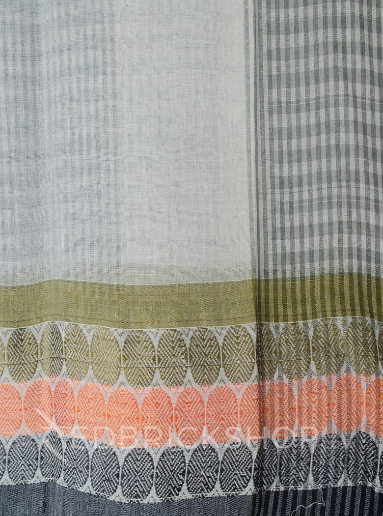 TANGAIL CHECK OLIVE COTTON SAREE