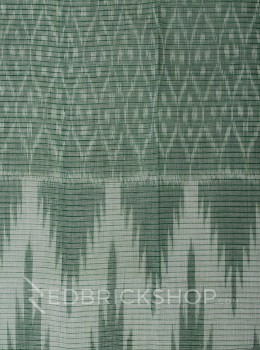 DHONEKHALI IKAT GREEN COTTON SAREE