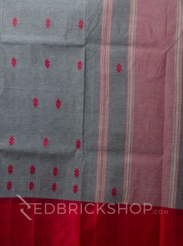 DHONEKHALI WIDE BORDER GREY-RED COTTON SAREE