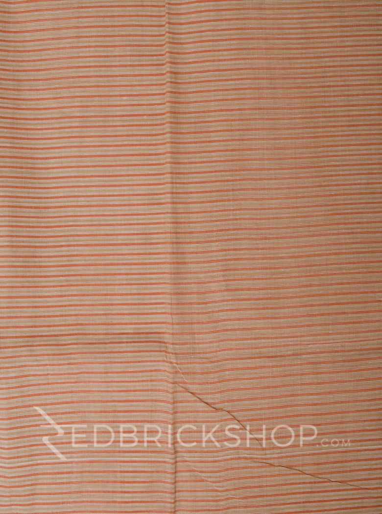DHONEKHALI BROAD STRIPE ORANGE COTTON SAREE