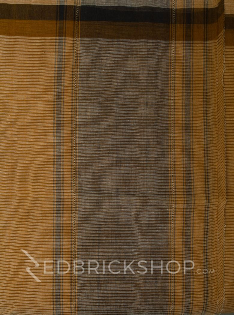 DHONEKHALI BROAD STRIPE MUSTARD COTTON SAREE