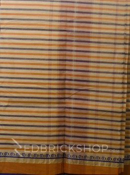 DHONEKHALI STRIPE INDIGO-MUSTARD COTTON SAREE