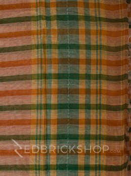 DHONEKHALI STRIPE RUST-GREEN COTTON SAREE