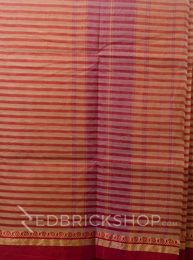 DHONEKHALI STRIPE RED-BEIGE COTTON SAREE