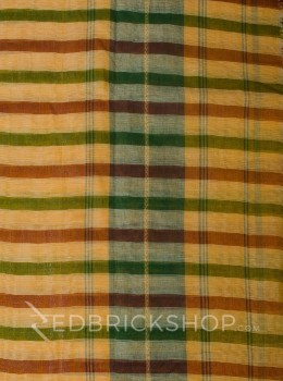 DHONEKHALI STRIPE MAROON-GREEN COTTON SAREE