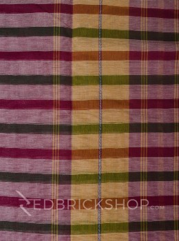 DHONEKHALI STRIPE MAGENTA-OLIVE COTTON SAREE