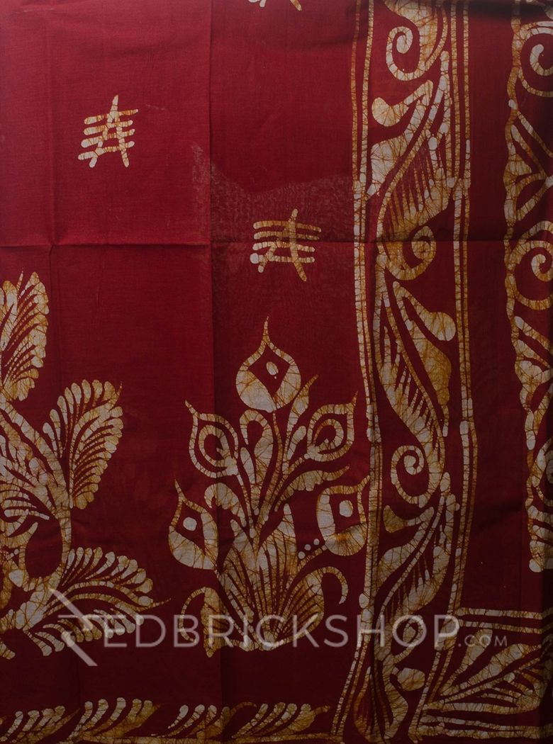 BATIK ABSTRACT MAROON COTTON SAREE