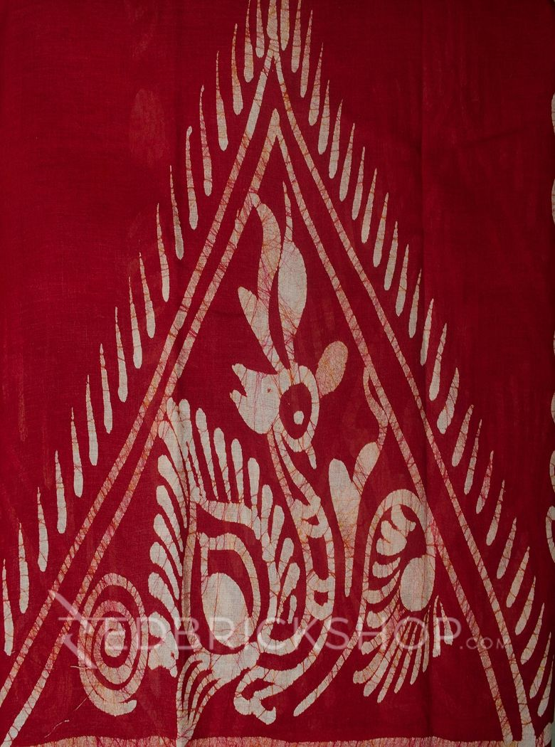 BATIK ABSTRACT RED COTTON SAREE