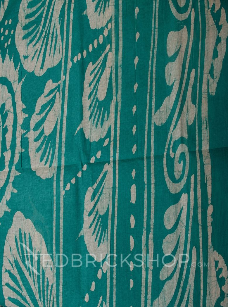 BATIK ABSTRACT AQUAMARINE COTTON SAREE
