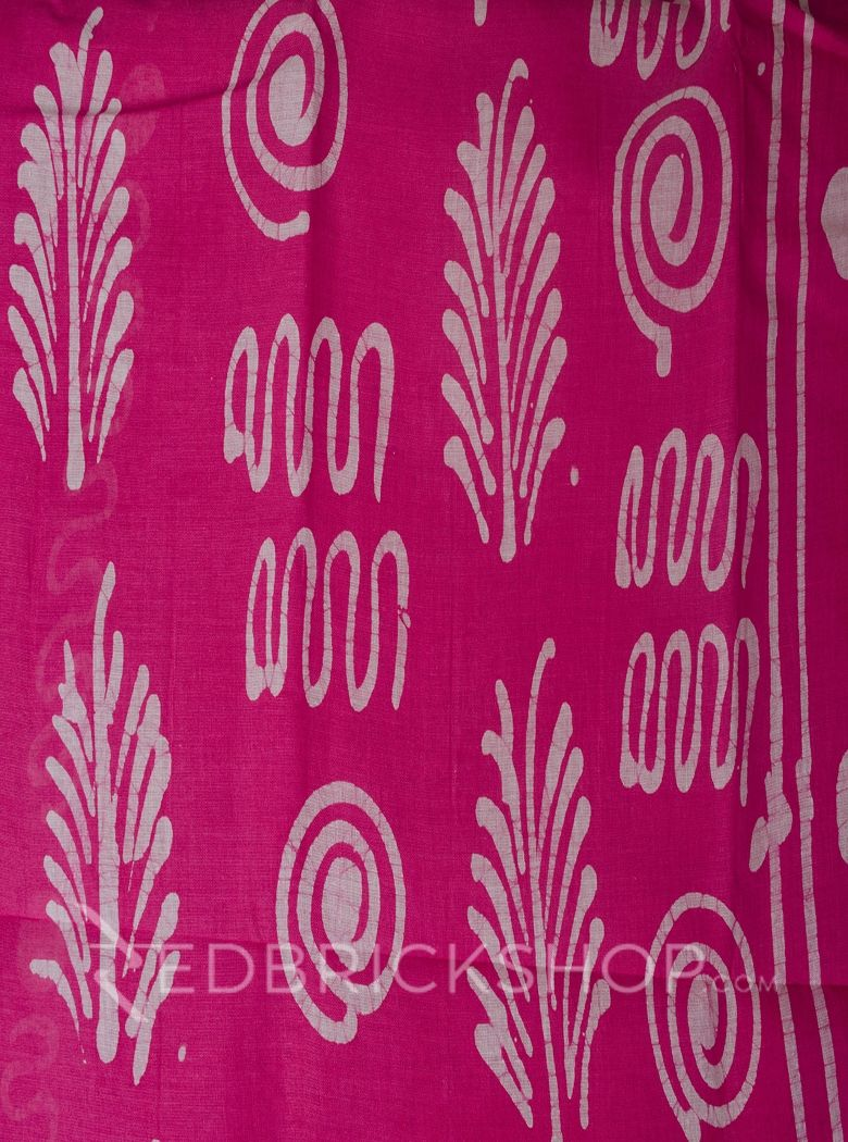 BATIK FLORAL PINK COTTON SAREE