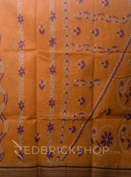 KANTHA FLORAL ORANGE COTTON SAREE