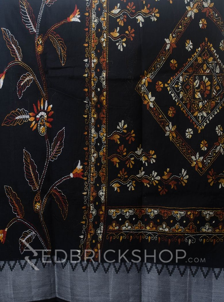 KANTHA FLORAL BLACK COTTON SAREE