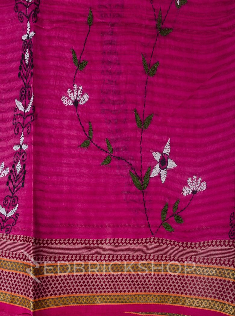 KANTHA FLORAL PINK COTTON SAREE