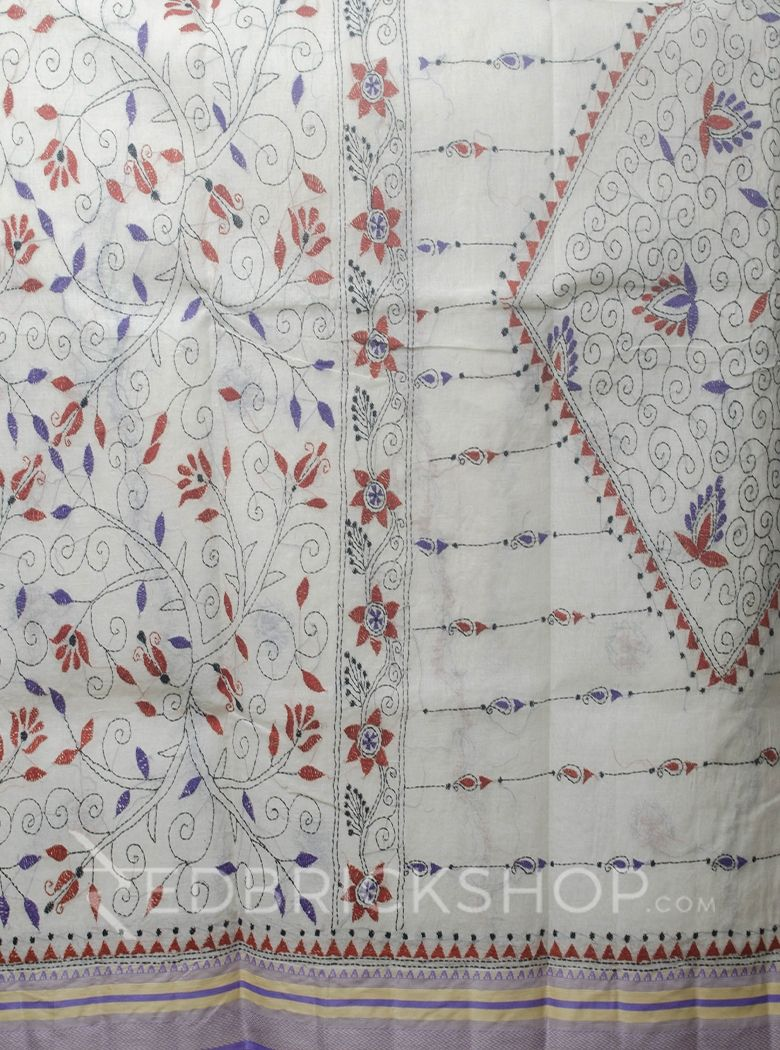 KANTHA FLORAL OFF WHITE-MAUVE COTTON SAREE