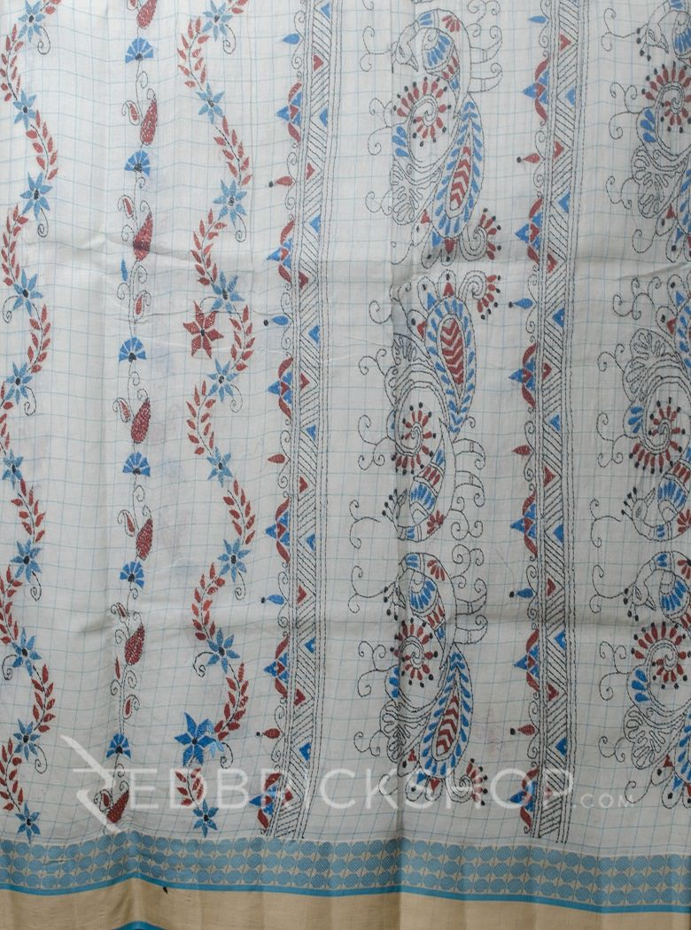 KANTHA FLORAL OFF WHITE-TURQUOISE COTTON SAREE