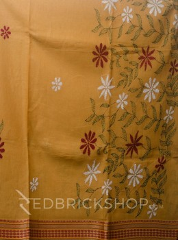 KANTHA FLORAL MUSTARD COTTON SAREE