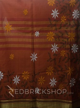 KANTHA FLORAL RUST COTTON SAREE