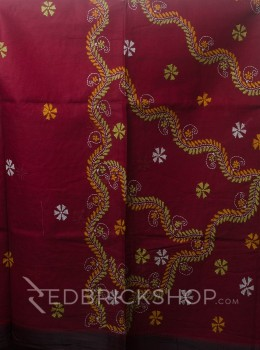 KANTHA FLORAL MAROON COTTON SAREE