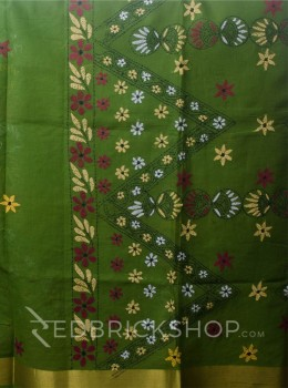 KANTHA FLORAL MEHENDI COTTON SAREE
