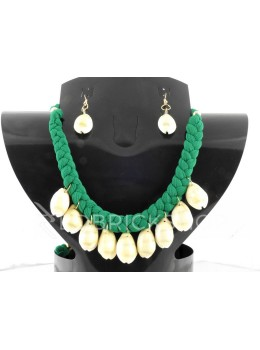 BRAIDED COWRIE SHELL GREEN SET