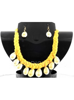BRAIDED COWRIE SHELL YELLOW SET