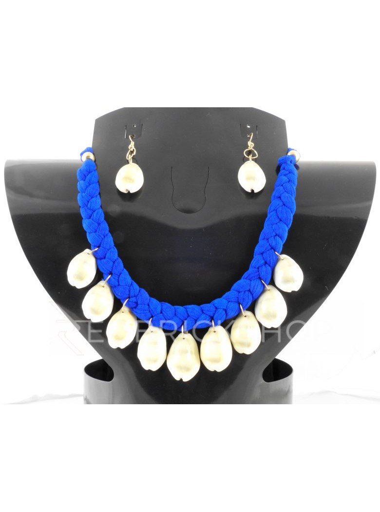 BRAIDED COWRIE SHELL BLUE SET