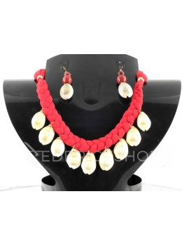 BRAIDED COWRIE SHELL RED SET