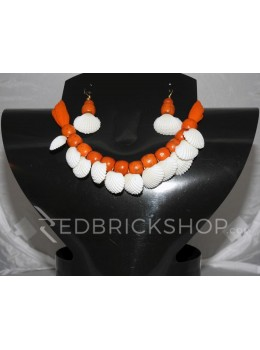 SEA SHELL WOODEN BEAD ORANGE CHOKER SET