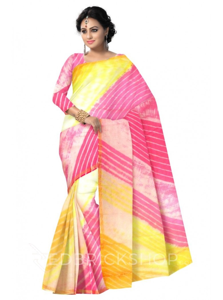 LEHERIYA FUCHSIA PINK, YELLOW, SAFFRON ORANGE, GOLD SILK KOTA SAREE