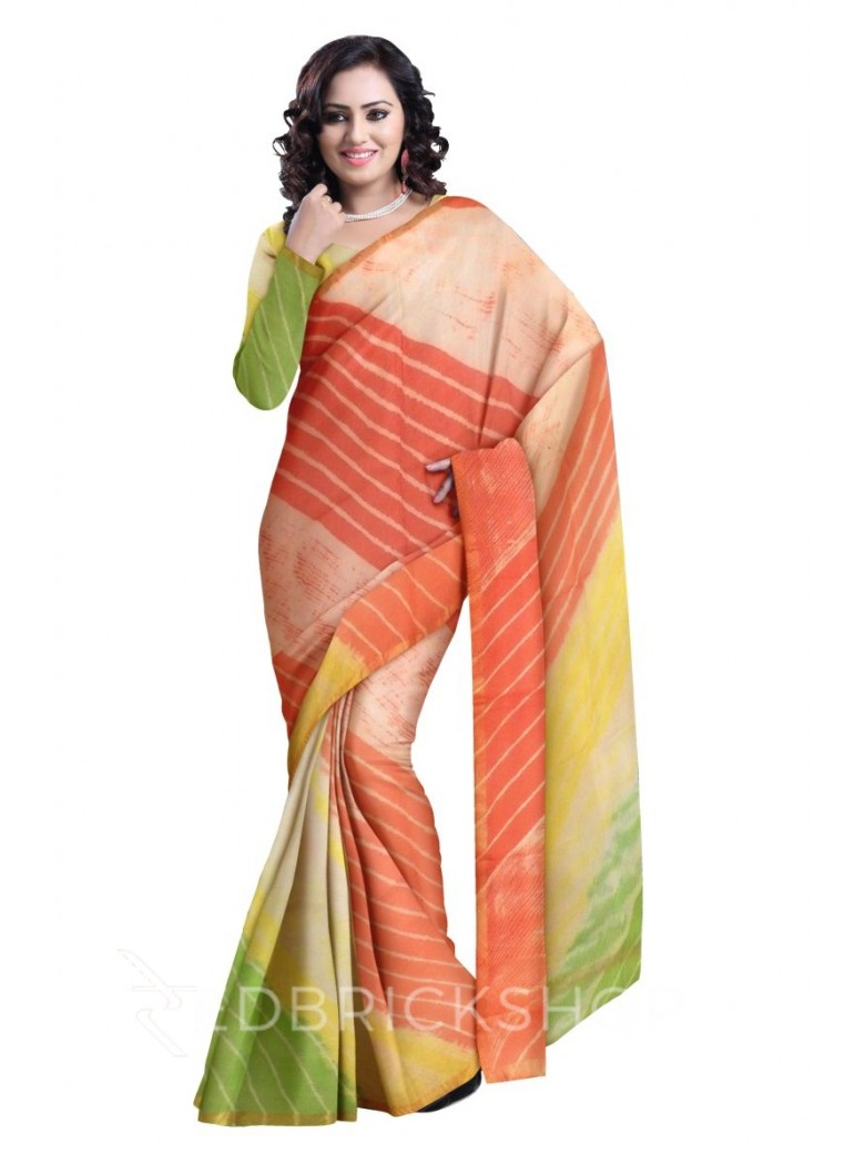 LEHERIYA GREEN YELLOW, ORANGE, GOLD SILK KOTA SAREE