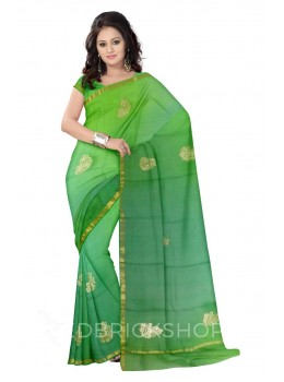 PITTAN PAISLEY OMBRE GREEN SILK KOTA SAREE