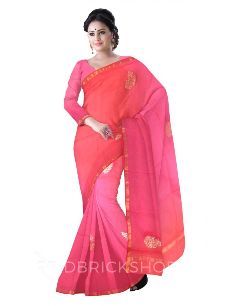 PITTAN PAISLEY MAGENTA, RED SILK KOTA SAREE