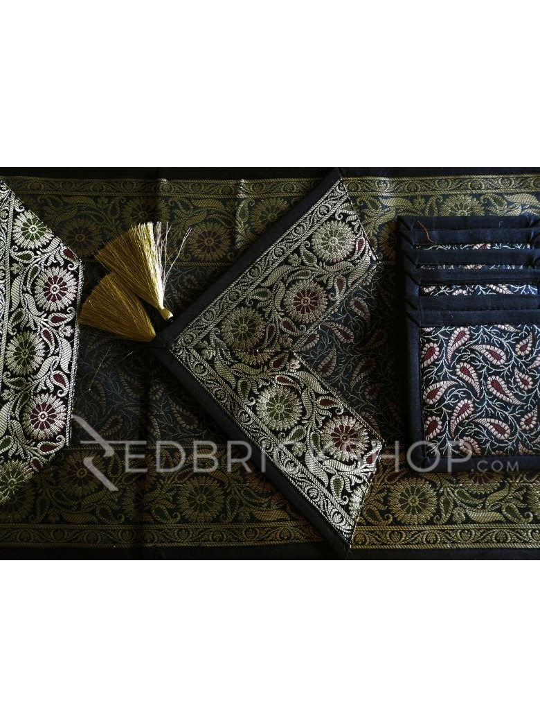 BENARASI SILK FLORAL PAISLEY BLACK, GOLD TABLE SET - 1 RUNNER, 6 MATS AND 6 COASTERS