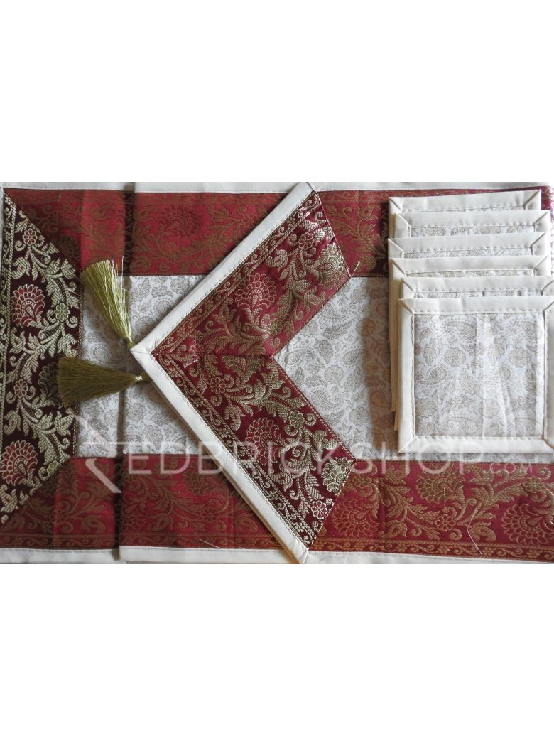 BENARASI SILK FLORAL PAISLEY CREAM, RED, GOLD TABLE SET - 1 RUNNER, 6 MATS AND 6 COASTERS