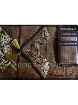 BENARASI SILK FLORAL PAISLEY BROWN, GOLD TABLE SET - 1 RUNNER, 6 MATS AND 6 COASTERS