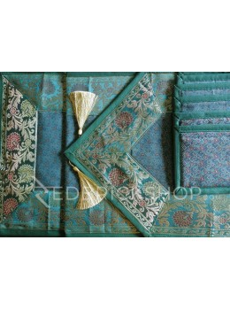 BENARASI SILK FLORAL PAISLEY AQUAMARINE, GREEN, GOLD TABLE SET - 1 RUNNER, 6 MATS AND 6 COASTERS