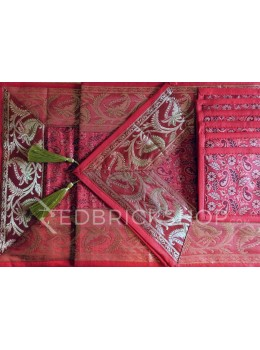 BENARASI SILK FLORAL PAISLEY RED, GOLD TABLE SET - 1 RUNNER, 6 MATS AND 6 COASTERS