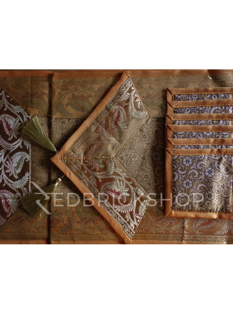 BENARASI SILK FLORAL PAISLEY MUSTARD, YELLOW, GOLD TABLE SET - 1 RUNNER, 6 MATS AND 6 COASTERS