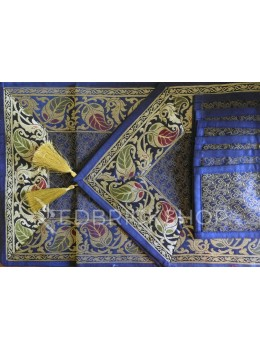 BENARASI SILK FLORAL PAISLEY NAVY, BLUE, GOLD TABLE SET - 1 RUNNER, 6 MATS AND 6 COASTERS