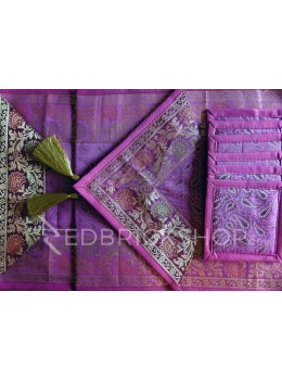 BENARASI SILK FLORAL PAISLEY MAGENTA, PINK, GOLD TABLE SET - 1 RUNNER, 6 MATS AND 6 COASTERS