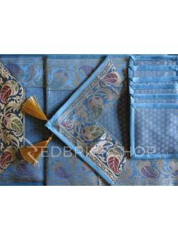 BENARASI SILK FLORAL PAISLEY BLUE, GOLD TABLE SET - 1 RUNNER, 6 MATS AND 6 COASTERS