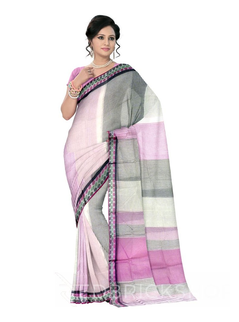 TANGAIL CHECK MAUVE COTTON SAREE