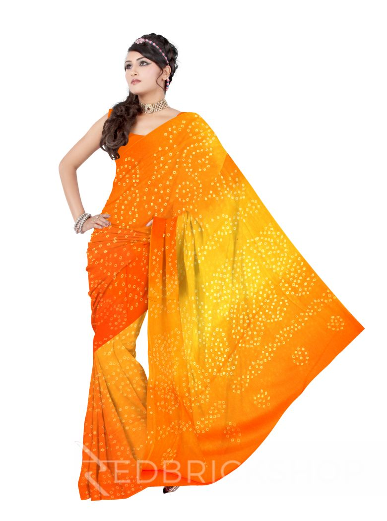 TIE N DYE SAFFRON COTTON SAREE