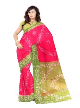 TIE N DYE PINK, GREEN COTTON SAREE