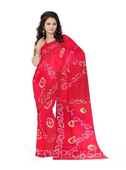 TIE N DYE RED COTTON SAREE